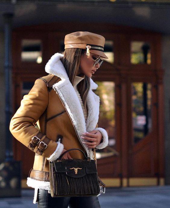 blouson aviateur pour femme en peau lainée tendance