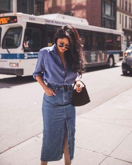comment porter la jupe en jean idees looks et tenues