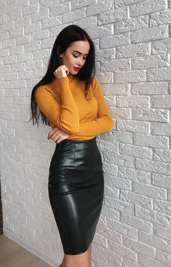 jupe crayon cuir