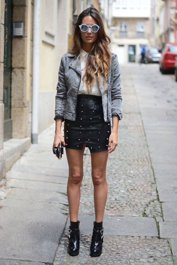 robe cuir rock cloutee