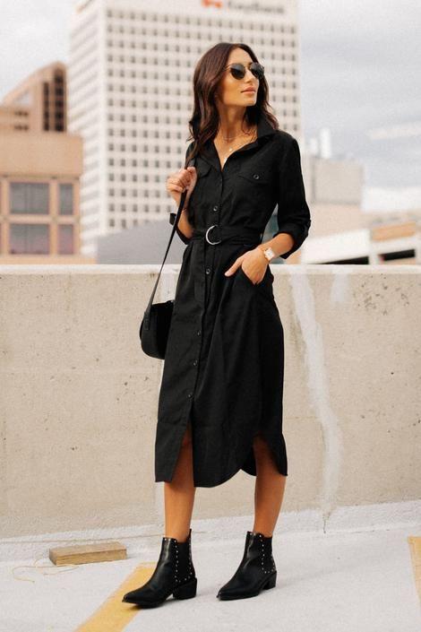 robe chemise longue noire