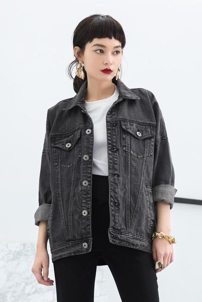 porter veste en jean noire