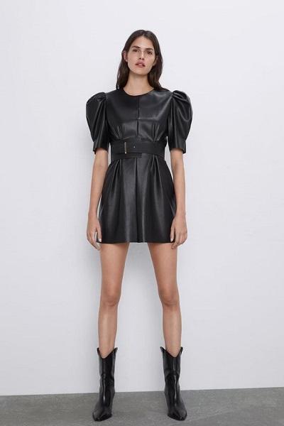 mini robe en cuir sexy